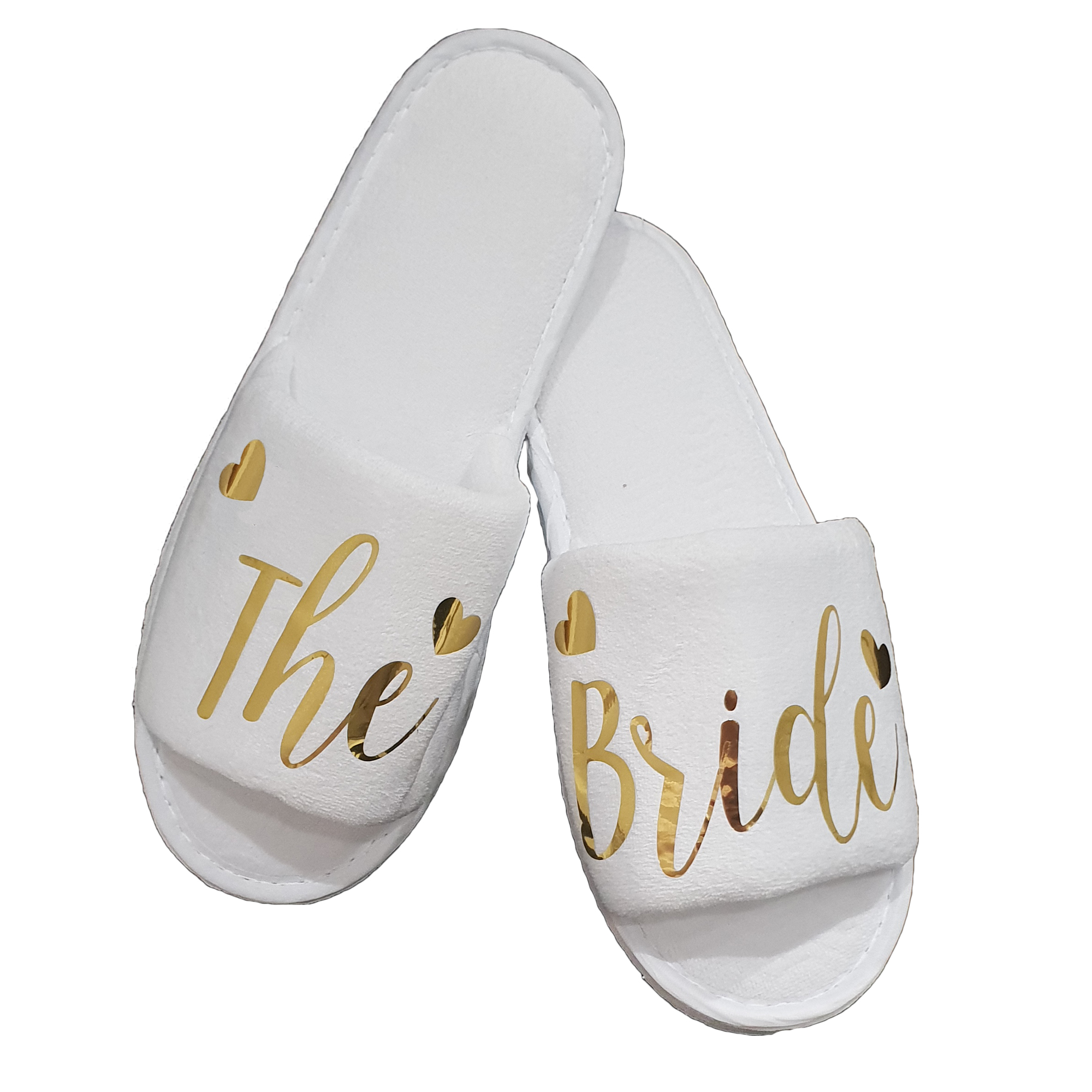 1b611fcbe32 Details about Bride Bridal Bridesmaid Hen Wedding Slippers Gold Foil Style  LUXURY VELOUR